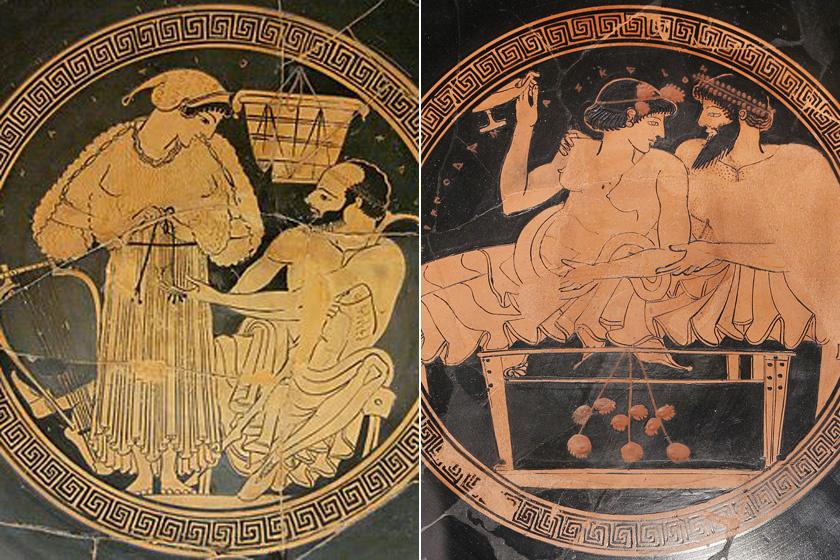 A prostitúció ábrázolása a görög vázákon.
