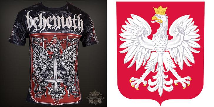 A Behemoth egyik pólója és a lengyel címer