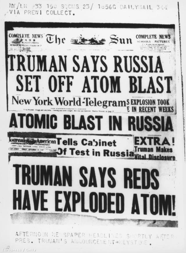 A szovjet atomkísérlet híre eléri az Egyesült Államokat 1949 szeptemberében