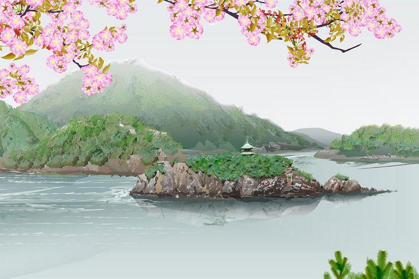 Ezt a képet akár a hálószobába is szívesen kitennénk. A víz és a cseresznyefa-virágzás visszatérő motívumok a művész alkotásain.