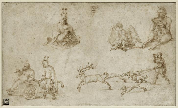Albrecht Dürer: Tanulmánylap, 1515 körül (Hangszeres alakok), toll, barna tinta