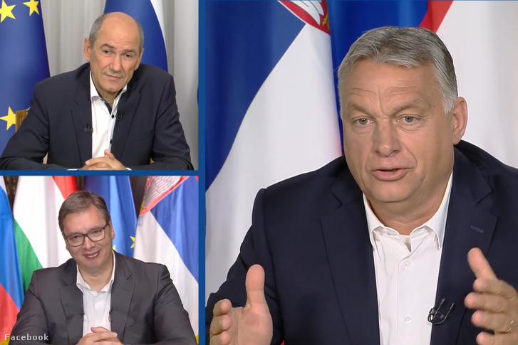 Orbán Viktor miniszterelnök, Janez Janša szlovén kormányfő és Aleksandar Vučić szerb elnök webkonferenciája 2020. július 8-án