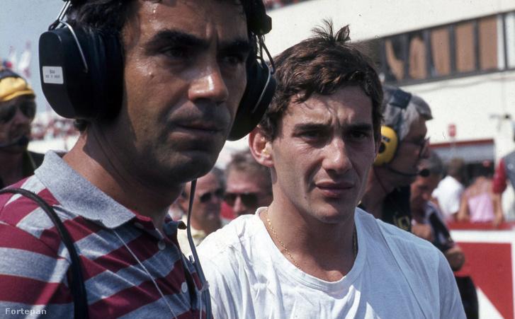 Gyulai István, az MTV sportriportere és Ayrton Senna, a Lotus-Renault csapat versenyzője az első Magyar Nagydíjon 1986-ban
