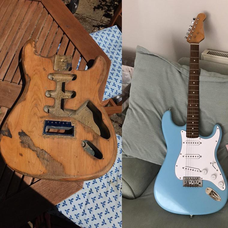 De mielőtt az unalmukban fejüket kertészkedésre adó egyénekről írnánk, megmutatjuk, milyen látványosan felújította gitárját az egyik hobbizenész