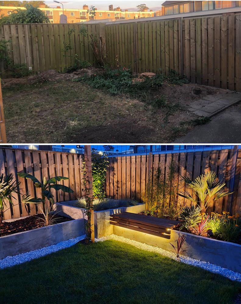 És ha már az imént a nap fáradalmainak kipihenéséről írtunk, íme egy kert, aminek esti kivilágítása annyira csalogató, hogy már csak egy behűtött nagyfröccs hiányzik a képről