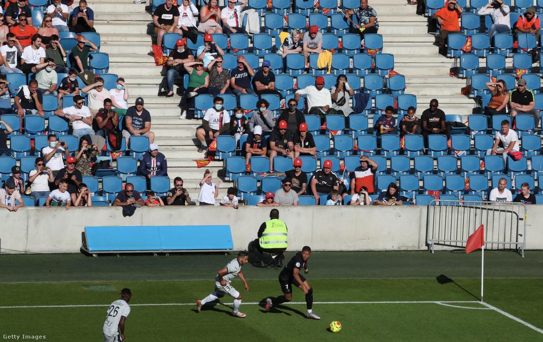 Kylian Mabppe, a Paris Saint-Germain és a Le Havre AC közötti barátságos mérkőzés során 2020. július 12-én.