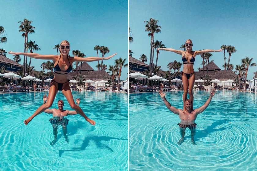 Vasvári Vivien falatnyi bikiniben ugrott a medencébe spanyolországi nyaralásukon szerelme válláról.
