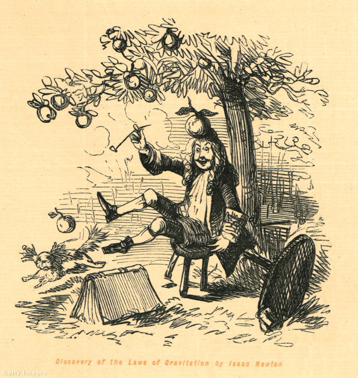 A közismert történetet ábrázoló korabeli metszet, mely szerint Newton a fejére pottyanó alma hatására értette meg, hogy a földi tárgyakat és égitesteket mozgató erő ugyanaz.