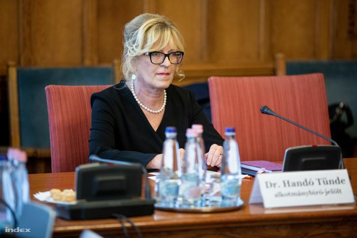Handó Tünde, az Országos Bírósági Hivatal (OBH) elnöke, alkotmánybíró-jelölt a meghallgatásán az Országgyűlés igazságügyi bizottságának ülésén 2019. október 29-én.