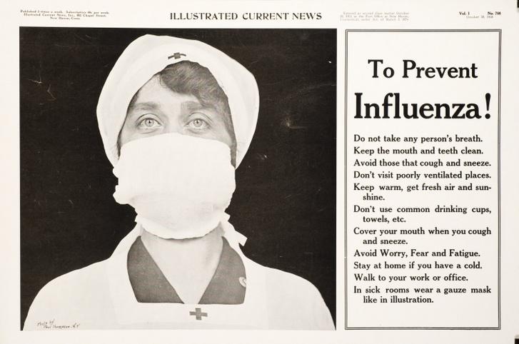 Egy maszkot viselő nővér és megelőzési tippek a Vöröskereszt korabeli újsághirdetésében.