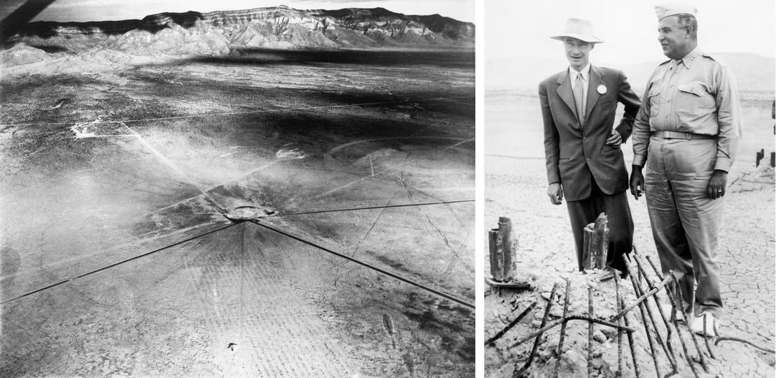 Bal: Légifelvétel a robbantás helyéről - Jobb: Robert Oppenheimer és Leslie Grove a projekt katonai vezetője a bombát tartó torony maradványainál a kísérlet után