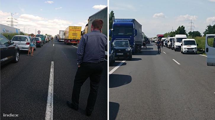 Baleset miatt feltorlódott autók az M1-es autópályán