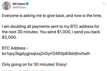 A jótékonysági akcióiról is híres Microsoft-alapító Bill Gates fiókján végülis nem is keltett elsőre gyanút az adakozó kedvű poszt