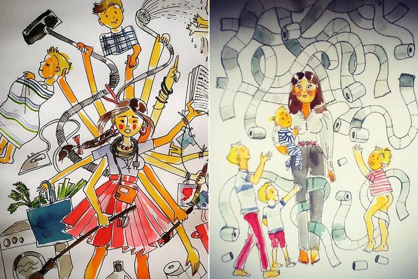 Ilyen az élet négy gyerekkel valójában: Cecília őszinte rajzokon mutatja meg a valóságot