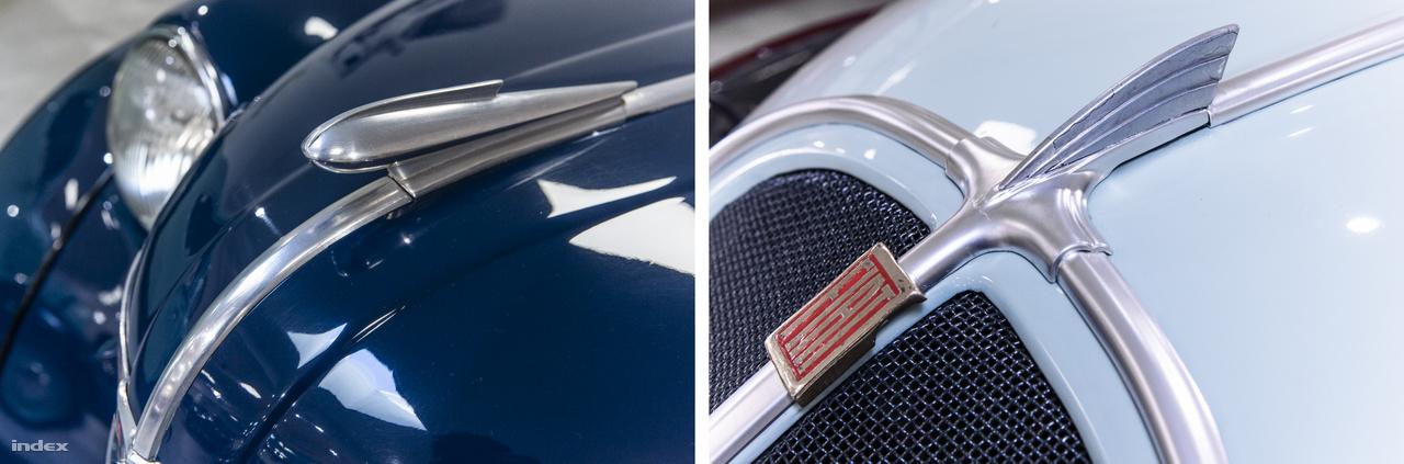 """Három visszafogottan elegáns márkajelzés, avagy """"hood ornament"""" a sebesség, a szárnyalás jegyében: az Adler Triumph Junior 1E kiterjesztett szárnyú ragadozó madara a német autómárka nevéből (Adler=Sas) adódik, de az Opel Olympia aerodinamikus rakétaformája és Fiat 500 """"Topolino"""" szárnyalakja is a szabadon repüléshez nyújt asszociációkat."""