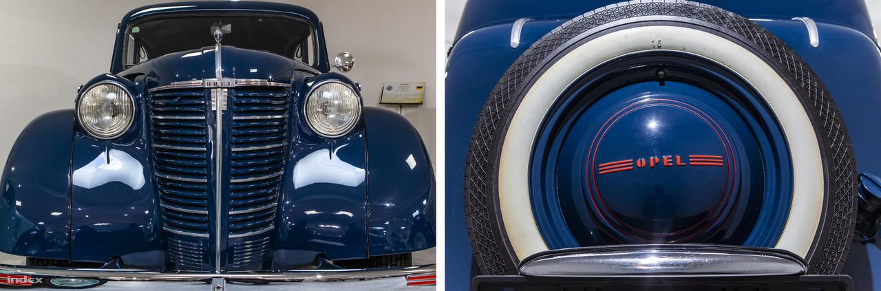 Elölről és hátulról is csodás ez az art decós Opel Olympia 1939-ból. A másfél literes, 37 lóerős négyhengeres soros motorral négysebességes váltóval és hidraulikus fékkel felszerelt autó az 1935-ös Berlini Nemzetközi Automobilkiállítás nagy szenzációja volt.