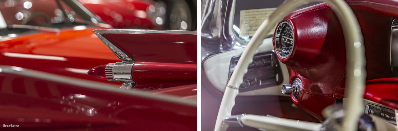 Árulkodó részletek – Harley Earl, General Motors vezető dizájnere az 1948-es Cadillac tervezésekor a repülőgépiparhoz fordult inspirációért: kis szárnyakat rajzolt az autó farára, a féklámpák köré. A cápauszonyoknak is nevezett dizájnelemek hamar népszerűvé váltak és szinte az összes nagy amerikai autómárkán megtalálhatók voltak. Ezen az 1959-es évjáratú, V8-as, 6390 köbcentis Cadillac 62-es országúti cirkálón is jól megfigyelhetők a katonai repülés ihlette részletek.