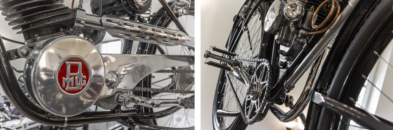A szépség a részletekben is rejlik. Fölül: egy német segédmotoros kerékpár, egy 1943-as egyhengeres, kétütemű, 98 köbcentis, rendkívül alacsony fogyasztású (1,8 l/100 km) Adler és annak kétfokozatú váltója. Balra alul: egy 1943-as, 98 köbcentis, egyhengeres, kétütemű BMG 100 magyar kismotorkerékpár, amit a Bécsi úti Bartha Motor és Gépgyárban gyártottak. Tervező: Bartha Szabolcs, nyugalmazott mérnökkari százados. Jobbra alul: egy 1939-es SHB 98, amit Schweitzer Henrik miskolci kereskedő budapesti üzemében gyártottak. Az SHB kismotorkerékpárokból nagyjából ezer készült 1938 és 1944 között, a Schweitzer Henrik Budapest (SHB) gyárat a II. világháború után államosították.