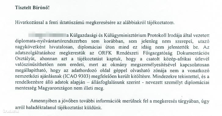 """A dokumentum, ami bizonyítja, hogy legalább az egyik """"diplomataokmányt"""" egy büntetőeljárás során akarták felhasználni. Forrás: Index.hu"""