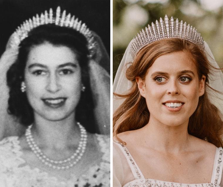 II. Erzsébet királynő és Beatrix hercegnő ugyanazzal a tiarával