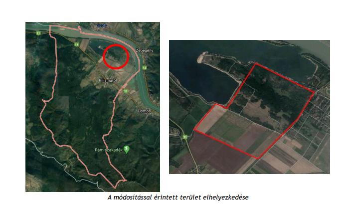 A bányászatra kijelölt terület Pilismaróton