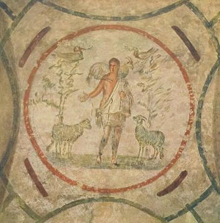 Jézus, mint jó pásztor a Priscilla-katakombában a 3. század második feléből.