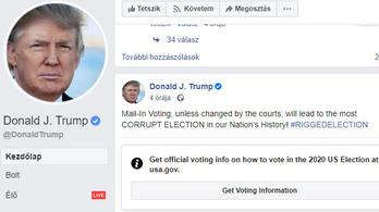 A Facebook felcímkézte Donald Trump bejegyzését a szavazásról
