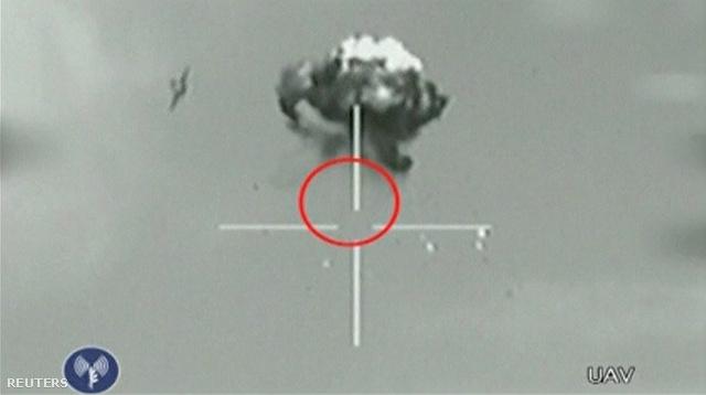 A drón kilövése egy izraeli felderítőgép kameráján