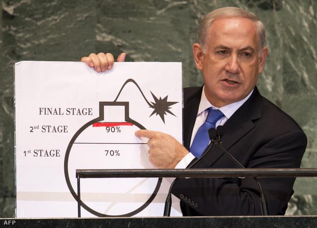 Benjamin Netanjahu izraeli miniszterelnök egy Irán atomprogramját szemléltető ábrával az ENSZ 67. kongresszusán