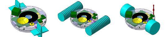 A TALISE szonda három lehetséges hajtási módjának előzetes tervei. Balról jobbra: forgó lapátkerekek, csavarorsók, illetve hengerek a szonda mindkét oldalán.
