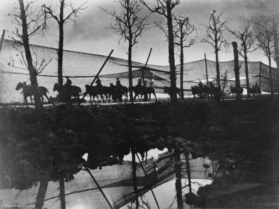 1916, brit hadifelszereléseket szállító lovas konvoj. Miután a vasúti vonalak kiemelt célpontként hamar megsemmisültek a háború elején, a lovas szállítás maradt az egyetlen lehetőség a felszerelések és az utánpótlás mozgatására. Bár a fronton alig használták őket, becslések szerint nyolcmillió ló halt meg a háborúban, és kétmillió sebesült lovat ápoltak kórházban a harcok lezárulta után.