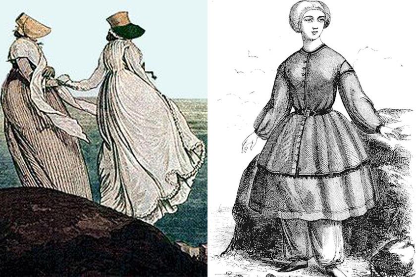 Fürdőruhák a 18. és 19. században.