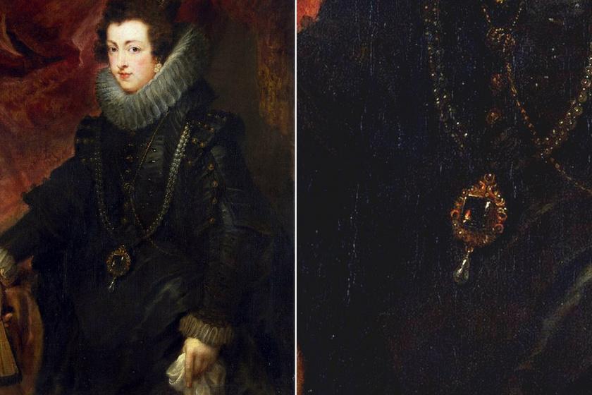 Peter Paul Rubens: Bourbon Izabella spanyol királynő, 1625 körül, részlet.