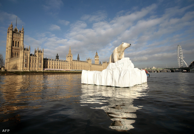 Életnagyságú jegesmedve installáció a Temze-folyón, Londonban