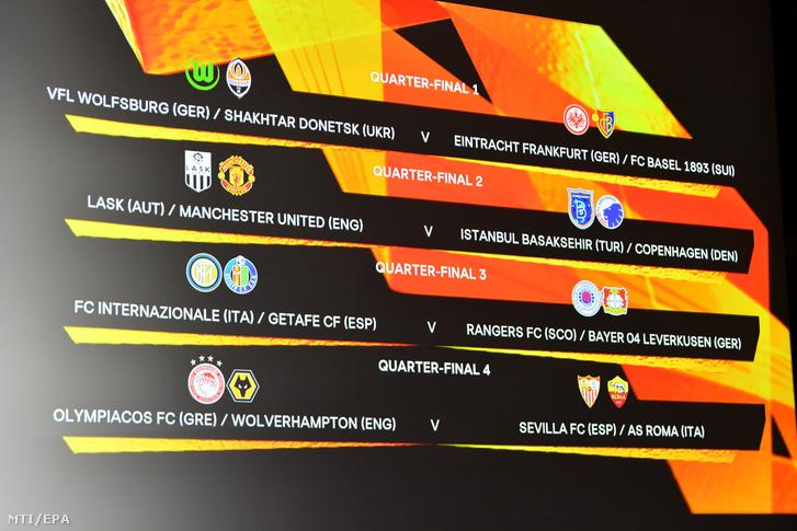 A klubok párosításáról a 2019-2020-as labdarúgó Európa-liga negyeddöntőjének sorsolása után az UEFA nyoni székházában 2020. július 10-én.