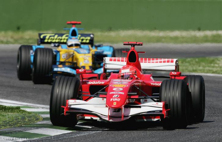 Michael Scumacher és Fernando Alonso a 2006-os imolai versenyen.