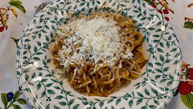 Padlizsános bolognai spagetti