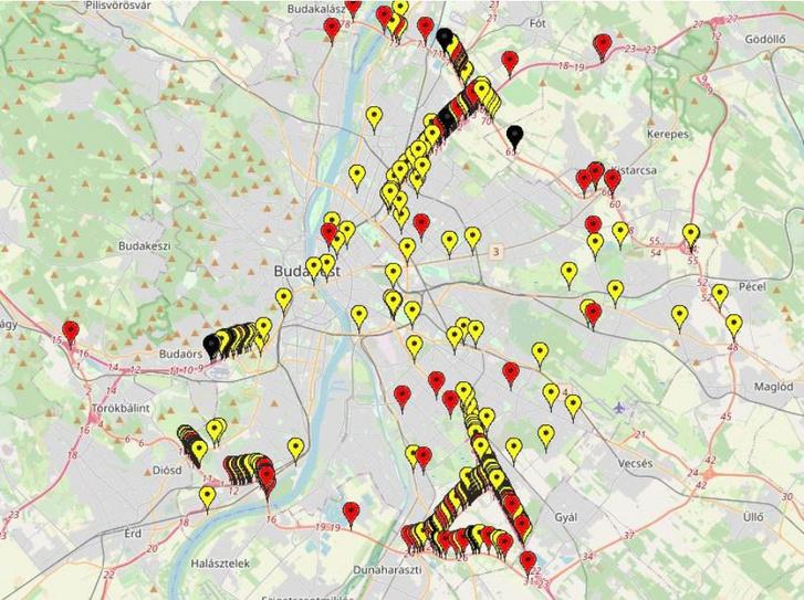 Baleseti gócok Budapesten (fekete – halálos, piros – súlyos sérüléses, sárga – könnyű sérüléses balesetek) [forrás: WEBBAL]