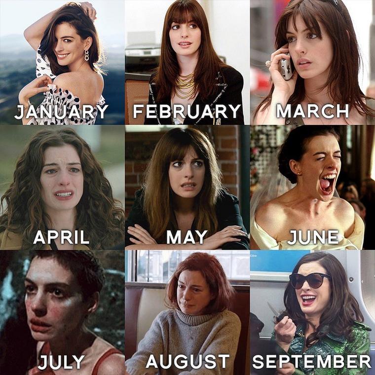Anne Hathaway saját helyzetjellemzése szerint április óta gyakorolja a sírás különböző fajtáit, de jövő hónapra már tutira megőrül