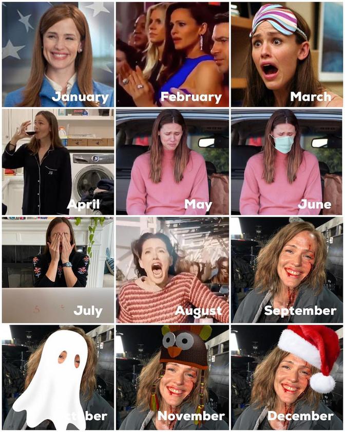 Jennifer Garner annyira precíz, hogy az egész évét bemutatja: bár szeptemberben, az iskolaév újraindulásakor végképp el fog törni benne valami, azért megünnepli a halloweent, a hálaadást és a karácsonyt is