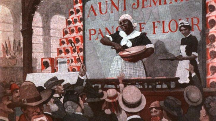 Rajz az 1893-as chicagói világkiállításról Jemima néni pavilonjával. Az ábrázolás nem korabeli, mert ezt a csomagolást csak 1914-től használták