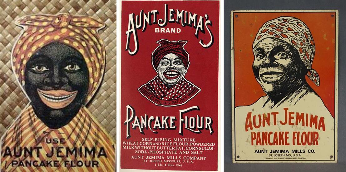 Az első három logó: a legelső változat még a minstrel show karikatúrafigurája, a harmadik már portrészerű