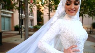 Videó: egy menyasszonyt esküvői fotózás közben ért a bejrúti robbanás