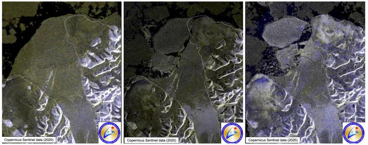 A Milne-selfjég széttöredezése a 2020. július 30. és augusztus 4. között készült műholdfelvételeken.