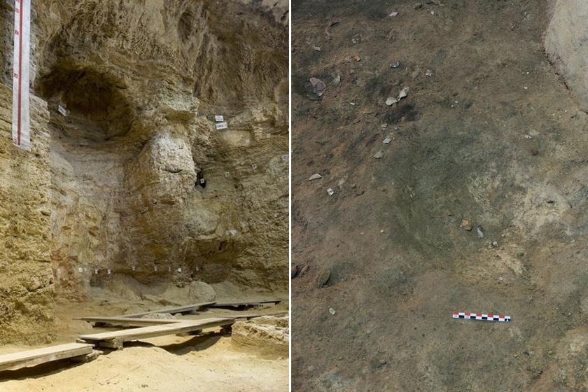 Balra a barlang beltere, jobbra a melegítőmélyedés látható.