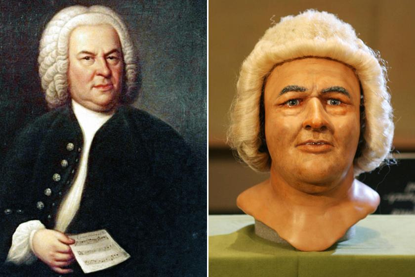 Johann Sebastian Bach (1685-1750) német zeneszerző élethű arcmását Carolin Wilkinson készítette el a művész koponyája alapján, és a róla készített porté segítségével, melyet Haussmann festett.
