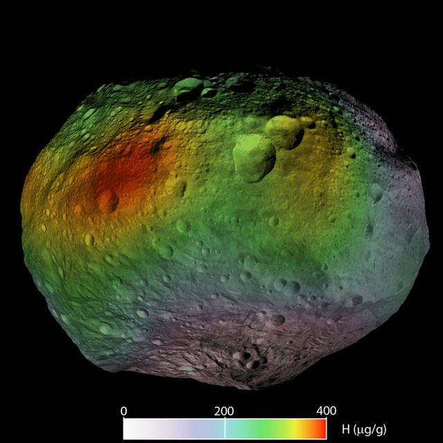 Így oszlanak el a hidrogénatomok a Vesta felszínén - piros színnel a magas, kékkel az alacsony koncentrációt jelöli a grafika
