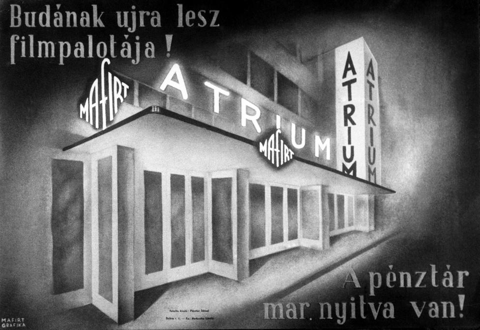 1947. Az Átrium mozi megnyitójára készült korabeli plakátrajz.