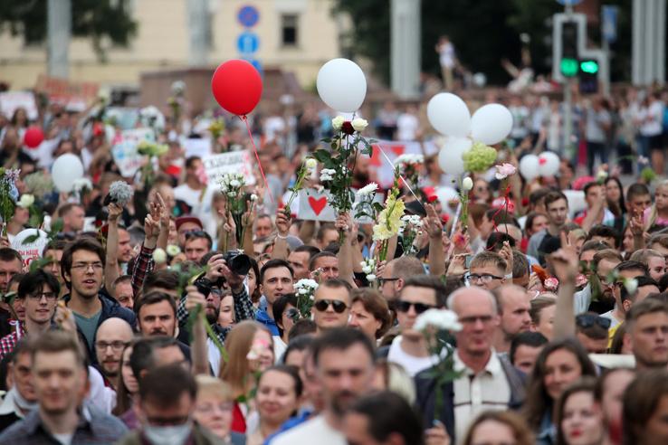 Több ezer tüntető vonult az elnökválasztás hivatalos végeredmény közzétételét követően a minszki Függetlenség terére hogy tiltakozzanak Aljakszandr Lukasenka hivatalban lévő elnök általuk el nem fogadott választási győzelme ellen 2020. augusztus 14-én. Napok óta tömeges tüntetések vannak Fehéroroszországban a választási eredmények elleni tiltakozásul.