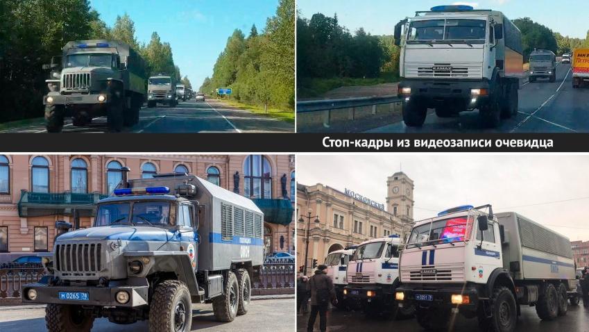 Orosz karhatalmi teherautókra hasonlító konvoj halad Belarusz felé